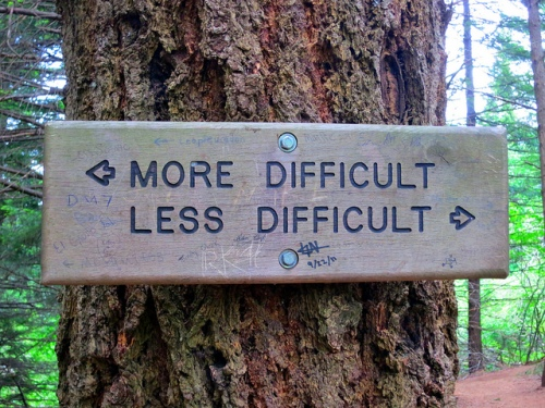 Picture of a sign indicating two directions: one is More Difficult, the other Less Difficult.